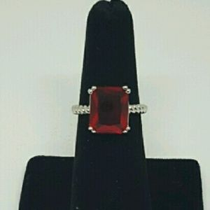 Jewelry - Emerald Cut Ruby CZ ring with silver band
